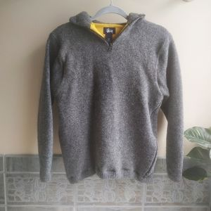 Women's Hooded Gray Stussy Sweater